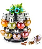 Mr Products Plastic Multipurpose Revolving Spice Jar/ Condiment Set Rack, 250 ml, 16 Pieces, Multicolor