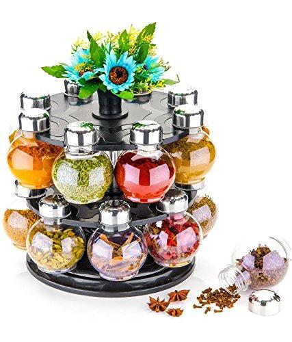 MR Products Premium Multipurpose Revolving Plastic Spice Rack 16 Piece Condiment Set – Metallic Siver Finish