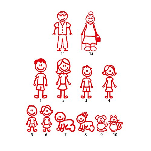 12 Stick Figure Family Your Stick Figure Family Pet Cat Dog Stickers for Car Windows Bumper Phone Notebook Vinyl Decal Red