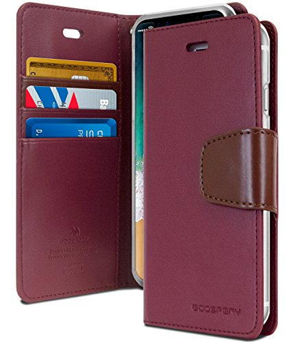 iPhone Xs Case, iPhone X Case [Drop Protection] GOOSPERY Sonata Wallet Case [Card Slots] Premium PU Leather & TPU Casing Flip Stand Cover for Apple iPhone Xs/X (Wine) IPX-Son-WNE