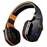 AFUNTA Bluetooth V4.1 Professional Wireless Cordless Stereo Gaming Headphones Headset with 3.5mm Wired Audio In, NFC Tap To Connect and Built-in HD Microphone, Compatible with Smartphones, Laptops and Tablets