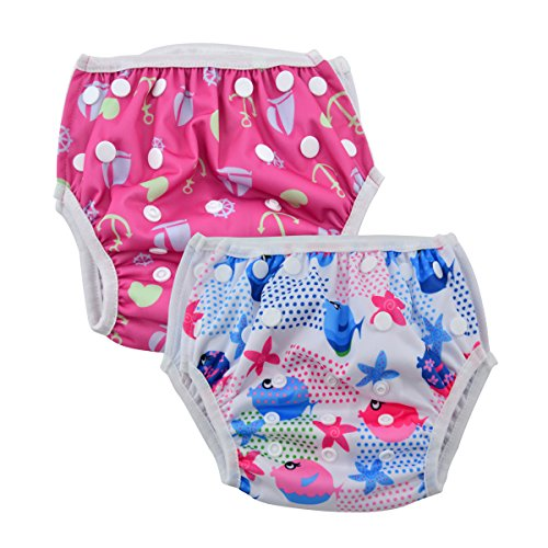 ALVABABY Swim Diapers 2pcs One Size Reusable & Adjustable 0-24 mo. 10-40lbs Baby Shower Gifts SW09-10 from ALVA