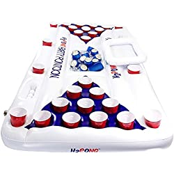 Play Platoon H2PONG Inflatable Beer Pong Table Built in Cooler, Includes 5 Ping Pong Balls - Floating Pool Party Game Raft Lounge