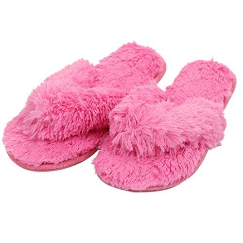 Gohom Frauen Solide Warm Plüsch Hausschuhe Für Zuhause Rose Rot