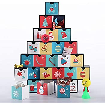 VIVOHOME Treasure Box Advent Calendar with Gift Drawers for Kids Countdown to Christmas 2018 New Edition