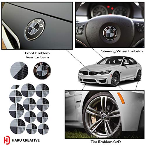 Haru Creative - Vinyl Overlay Aftermarket Decal Sticker Compatible with and Fits All BMW Emblem Caps for Hood Trunk Wheel Fender (Emblem Not Included) - 5D Gloss Carbon Fiber Black and Silver