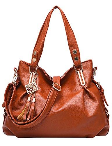 Giallo Tote signore Bag Marrone Menschwear Nero Leather nuove a tracolla lucida borsa PU P6AO5qw