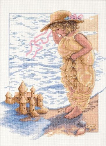 Dimensions Sandcastle Dreams Counted Cross Stitch Kit 14k Yellow Gold Ribbon