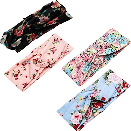 Ever Fairy 4 Pack Women's Elastic Flower Printed Turban Headwrap Knotted Soft Twisted Headband ()