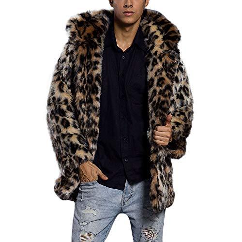 Multicolor Fur Thick UJUNAOR Coat Faux Leopard Fashion Jacket Collar Fur Parka Cardigan Warm Mens Outwear waq6Cxav