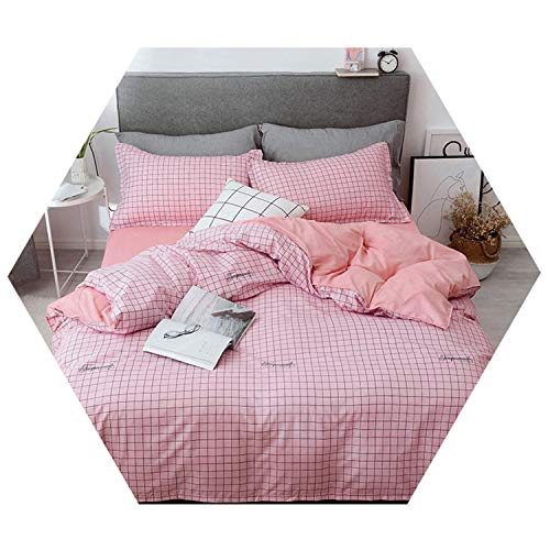 (Plaid Bedding Set Girls 3/4Pcs Bed Sheet Sets Queen Size Duvet Cover Pillowcase Kit 1 King 4pcs Flat)