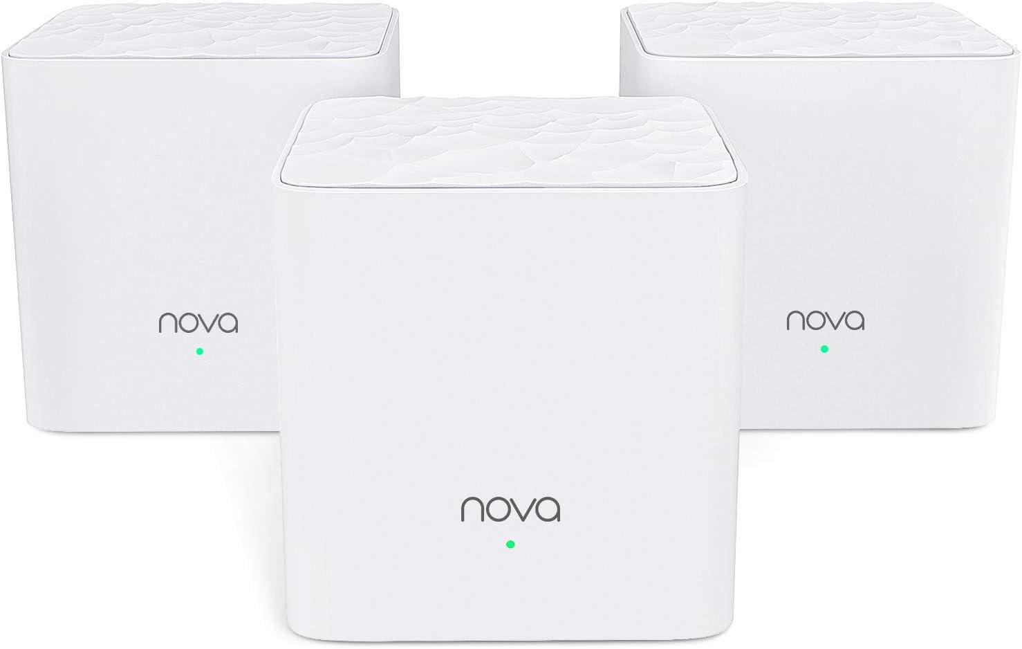 Tenda NOVA MW3 Mesh Router Sistema WiFi de Red en Malla (AC1200, 2.4GHz +5 GHz,Plug and Play, Mu-MIMO,Fast Ethernet 10/100,Funciona con Alexa sustituye tu Repetidor Extensor de Red Tradicional)Pack 3