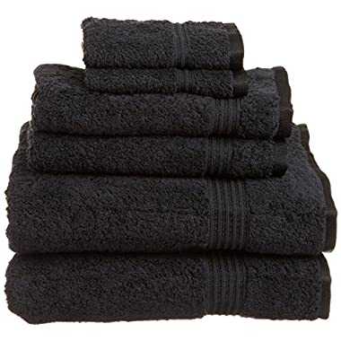 Superior Collection 100% Premium Long-Staple Combed Cotton 6-Piece Towel Set, Black