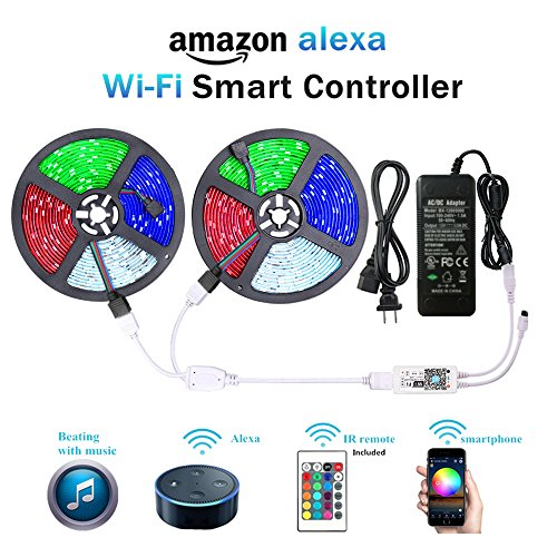 WenTop Wifi Wireless Smart Phone Controlled Led Strip Light Kit,DC 24V 65.6ft(20M) 5050 RGB 600LEDs Led Strip Tape Lights with UL Listed Power Adapter Work with Android,IOS System and Alexa