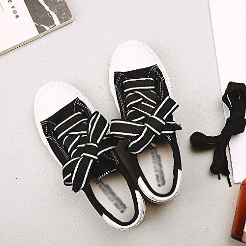 FEIFEI Zapatos de mujer suave lona + Slip resistente al desgaste Parte inferior Verano nuevo sabor sabor versión coreana retro estudiante Street Beat zapatos de lona tres colores para elegir ( Color : Negro