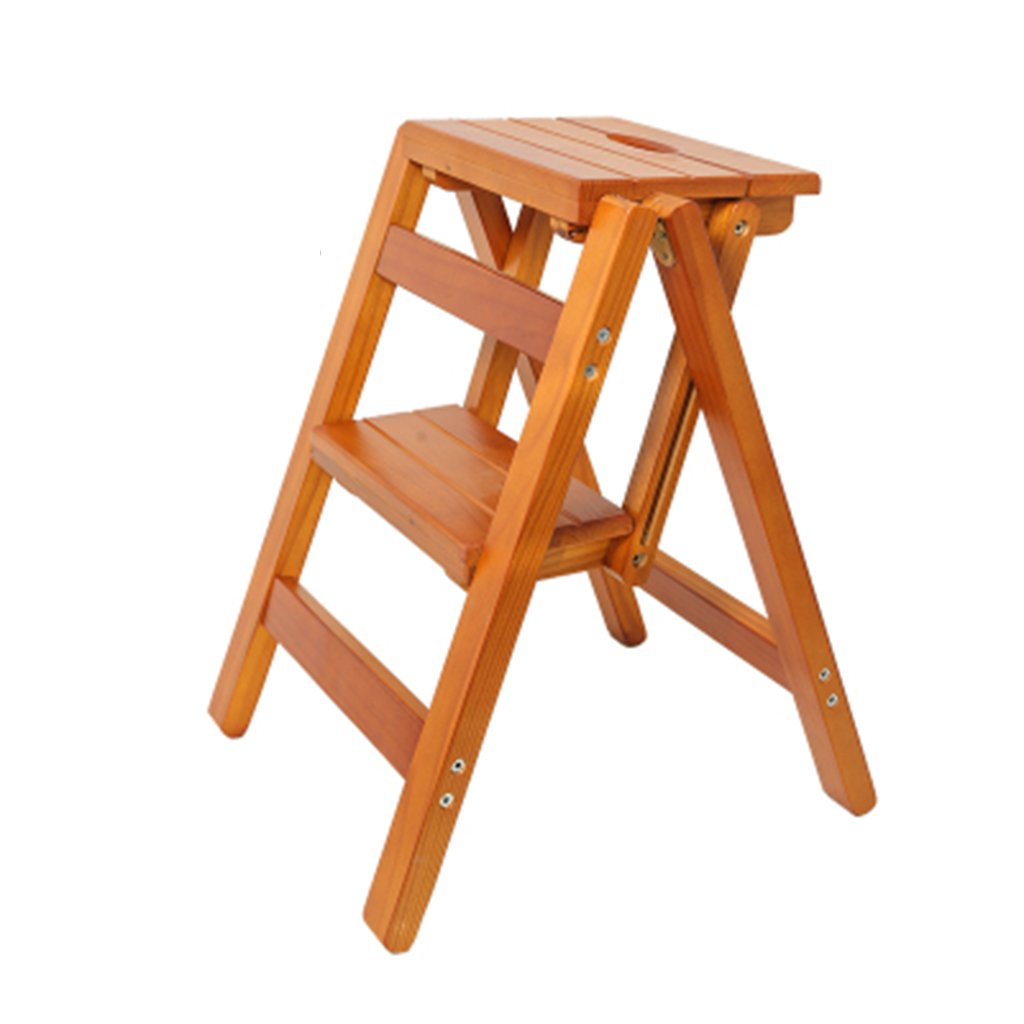 1 Djyyh Step Stools,Solid Wood Multifunction Collapsible Staircase Stool Step Bench Small Ladder (color    2)