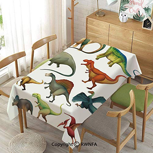 Homenon Decorative Rectangular Table Cloth,Various Different Ancient Animals from Jurassic Period Cartoon Collection Mammals Decorative,Indoor Outdoor Camping Picnic,Multicolor,55