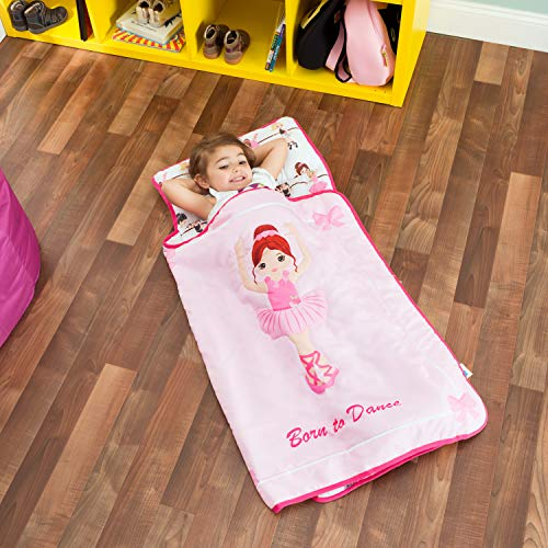 Ballerina Nap Mat - Everyday Kids Toddler Nap Mat with Removable Pillow -Born to Dance Ballerina- Carry Handle with Straps Closure, Rollup Design, Soft Microfiber for Preschool, Daycare, Sleeping Bag - Ages 2-4 Years
