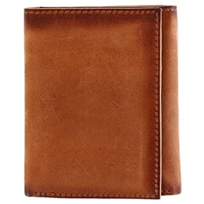 CTM Men's Hunter Leather Flip Trifold Wallet with Burnished Edges