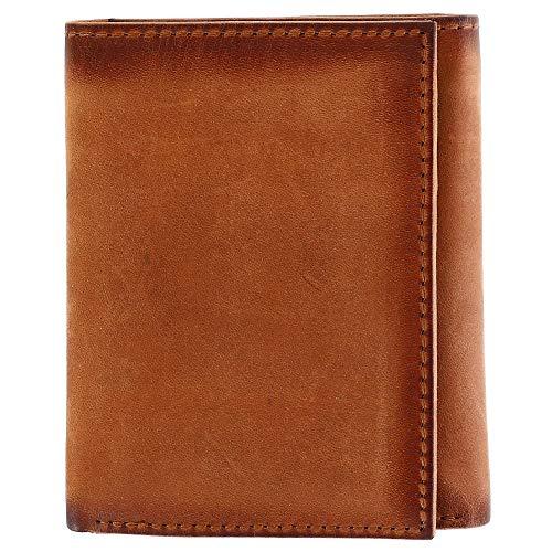 - CTM Men's Hunter Leather Flip Trifold Wallet with Burnished Edges, Cognac