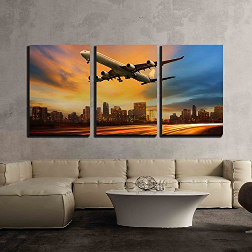 wall26 - 3 Piece Canvas Wall Art - Beautiful Lighting of Vehicle in Land Transportation and Passenger Jet Plane - Modern Home Decor Stretched and Framed Ready to Hang - 24