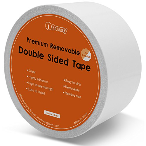 ifrmmy Removable Clear Double Sided Sticky Tape - No Residue, 2 inches x 20 Yards by ifrmmy