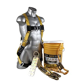 Image of Home Improvements Guardian Fall Protection (Qualcraft) 00815 BOS-T50 Bucket of Safe-Tie with Temper Anchor, 50-Foot Vertical Lifeline Assembly and HUV
