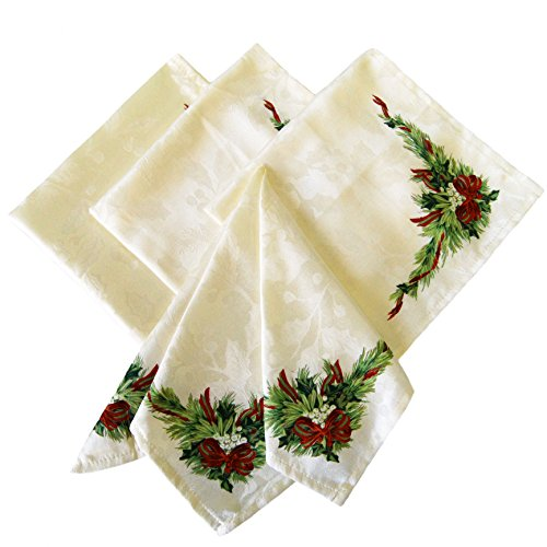 benson mills christmas ribbons engineered printed fabric napkins set of 4 napkins placemats - Christmas Placemats And Napkins