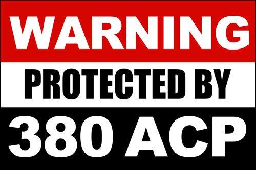 American Vinyl Warning Protected by 380 ACP Sticker (Gun Caliber 2nd Handgun Pistol)