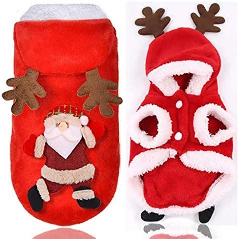 DSDecor - Disfraz de Papá Noel para perros de Navidad, ropa de invierno para perros pequeños 5