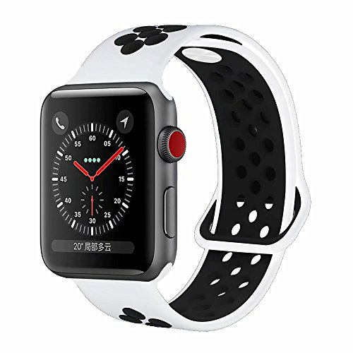 YC YANCH Greatou Compatible for Apple Watch Band 42mm,Soft Silicone Sport Band Replacement Wrist Strap Compatible for iWatch Apple Watch Series 3/2/1,Nike+,Sport,Edition,M/L,White Black