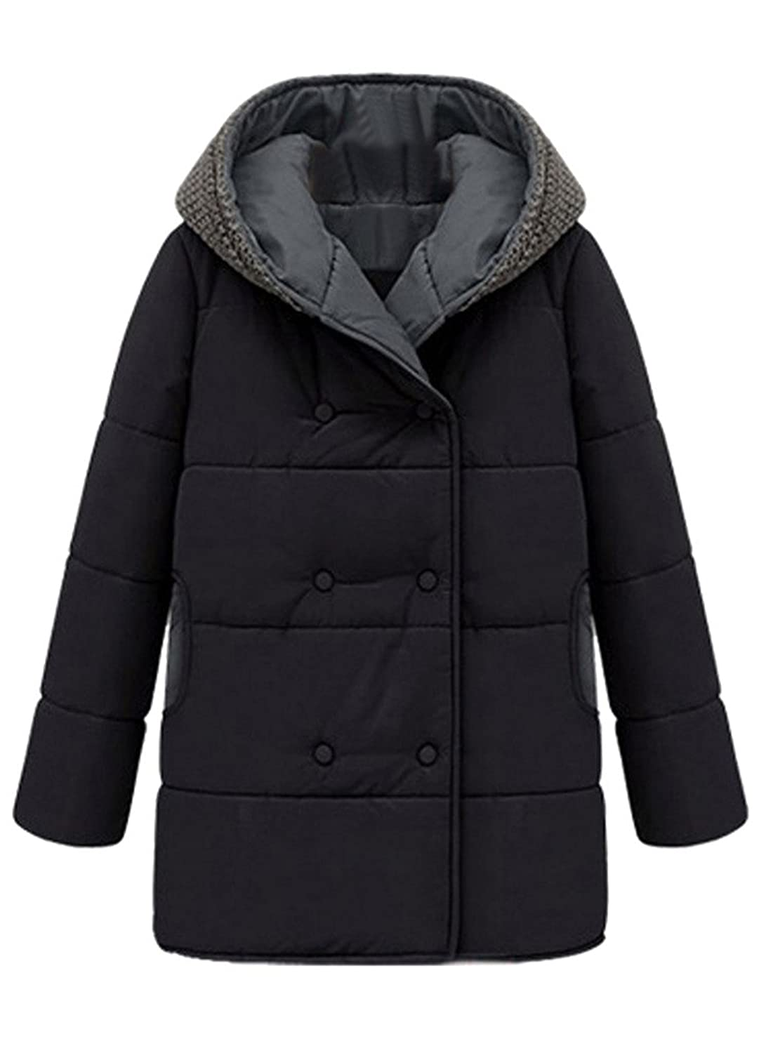 Womens Warm Cotton Knitting Hooded Coat Double Breasted Pea Coat Jacket Outwear