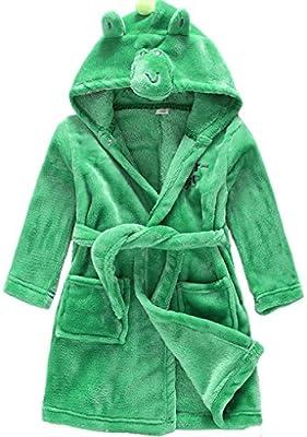 Shiny Toddler Lightweight Cotton Fleece Animal Sleeping Bathrobe with Hood