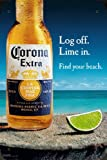 "Corona Beer Log Off Lime In Metal Poster Tin Plate Sign 8""x12"""