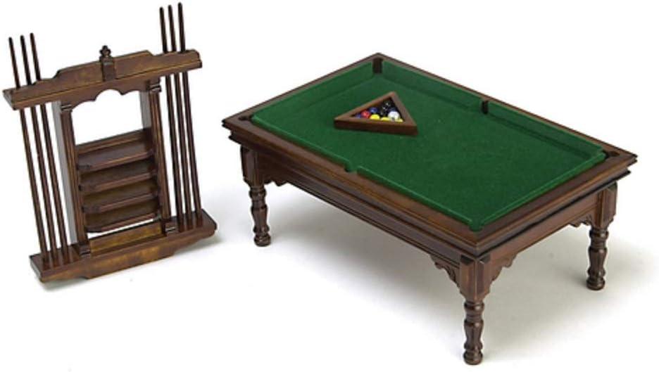Amazon.es: Dollhouse miniatura nogal mesa de billar Set: Juguetes y juegos