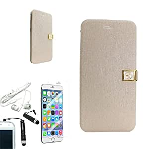 [ARENA] WHITE PREMIUM LEATHER GOLD LOCK COVER WALLET STAND CASE for APPLE IPHONE 6 PLUS + FREE ARENA ACCESSORIES