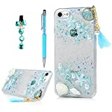YOKIRIN iPhone 7 Case, iPhone 8 Case, Beach Starfish Shower Seashell Transparent Clear Soft Flexible Gel Silicone TPU Bumper Slim Fit Shockproof Protective Cover with Dust Plug Stylus for Girl, Blue