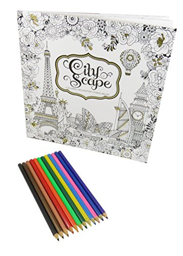 Rainbow Colored Pencil Set Art Tools (12) With Around The World City Scape Coloring Book 50 Pages (Bundle of - Shopping Best Copenhagen In