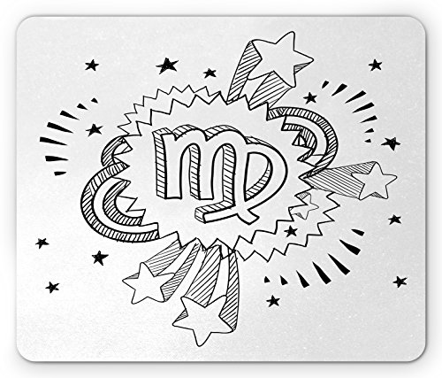 Zodiac Virgo Mouse Pad by Ambesonne, Doodle Style Astrology Symbol on 1960s 1970s Pop Explosion Background, Standard Size Rectangle Non-Slip Rubber Mousepad, Black and - The 70s Popular In Trends