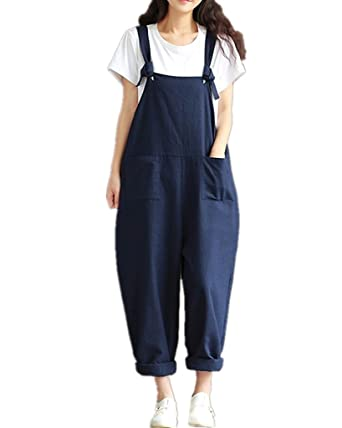 6cff6abc2fa Hibote Women Jumpsuit Casual Baggy Dungarees Overalls Loose Fit Jumpsuit  Playsuit Pants Trousers  Amazon.co.uk  Clothing