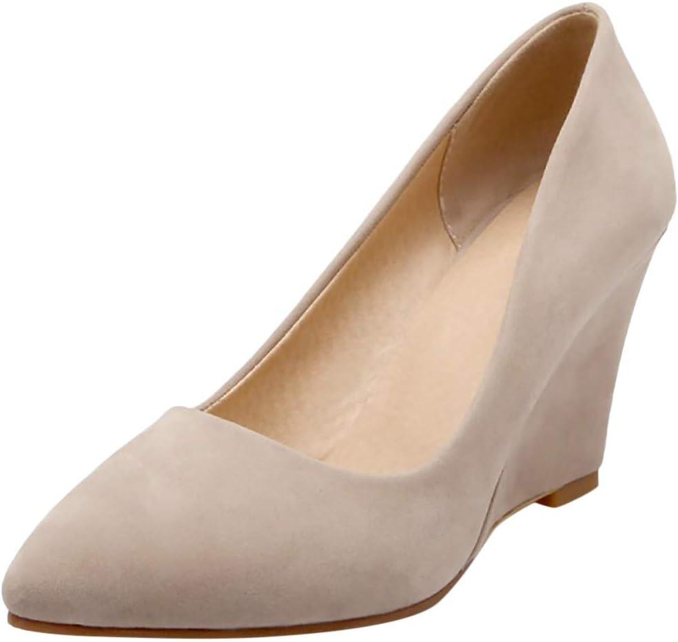 AG&T Cómodo Slip Acolchado para Mujer en Tacones Bajos con cuña Oculta Vestido de Punta Redonda Bombas Zapatos Zapatos para Mujer Color Caramelo Dulce: Amazon.es: Deportes y aire libre