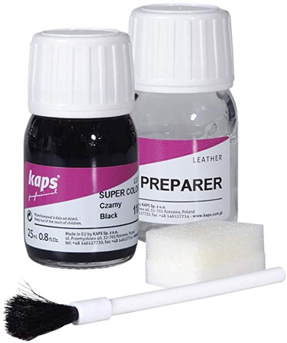 Kaps Professional Lederfarbe Super Color + Preparer für Naturleder, Synthetik und Textil (je 25 ml) zur Pflege und Reparatur von Lederschuhen in