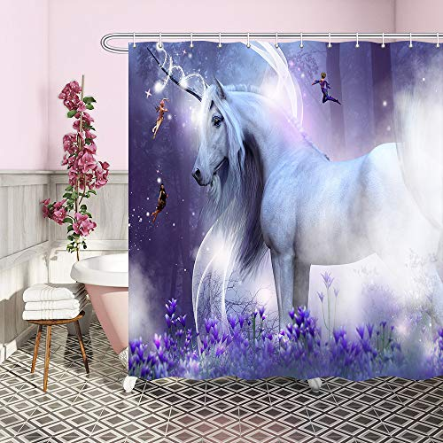 Fantasy Unicorn Decor Shower Curtain, Fairytale Animal in Purple Magic Forest for Girls Kids Upgrade Polyester Fabric Shower Curtains Bathroom Curtain Accessories, with 12PCS Hooks 69X70 - Bath Fantasy