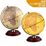 Illuminated World Globe for Kids with Wooden Stand,Built in LED for Illuminated Night View,Perfect Gift Antique Globe for Home Décor and Office Desktop