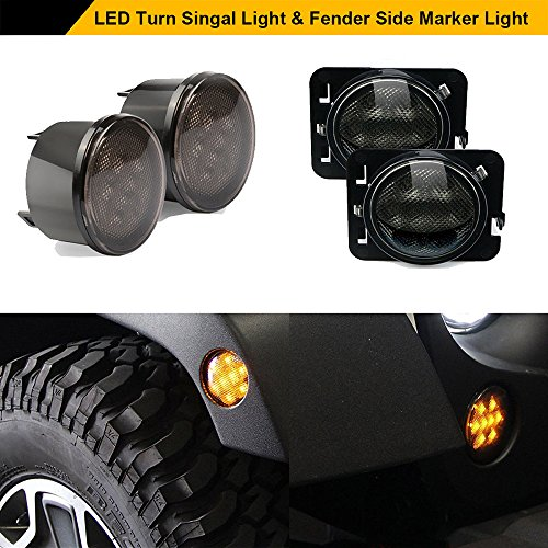 Smoke Lens Yellow LED Turn Signal + Fender Side Marker Parking Light Assembly For Jeep Wrangler JK Unlimited 2007-2017