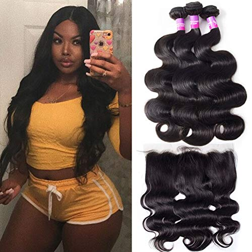Star Show Brazilian Hair Bundles with Frontal Closure Body Wave Human Hair Bundles with Frontal 14 16 18 with 14 Inch Frontal Natural Color