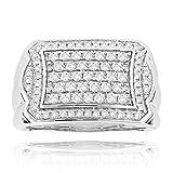 Luxurman 14K Natural 1 Ctw Diamonds Ring For Men Pave Set Diamonds For Him (White Gold Size 11)