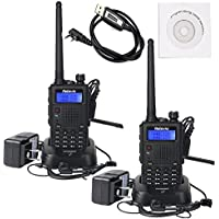 Retevis RT5 (Generation 2) Dual Band 2 Way Radio 136-174/400-520MHz FM Scan VOX Car Charging Function Ham Amateur Radio(Back,2 pack)with Programming Cable