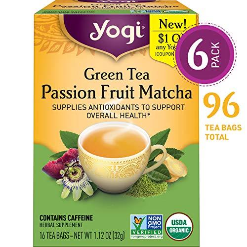 Yogi Tea - Green Tea Passion Fruit Matcha - Supplies Antioxidants - 6 Pack, 96 Tea Bags Total ()