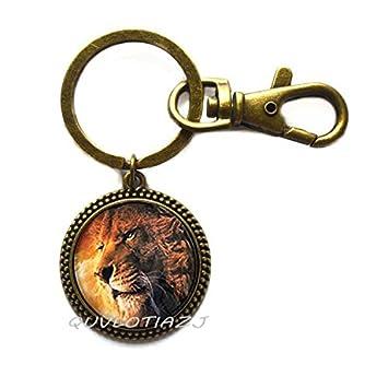Llavero de cristal de cabujón de león, llavero de león ...